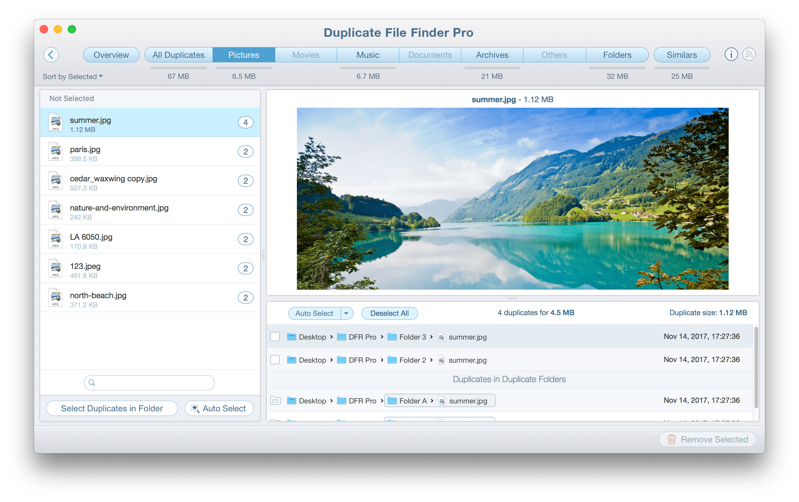 Duplicate File Finder Fenster