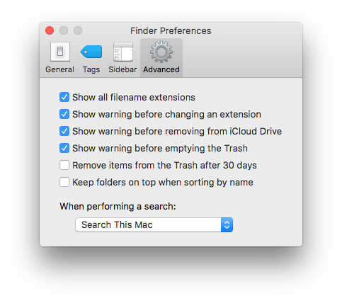 Advanced tab in Finder preferences