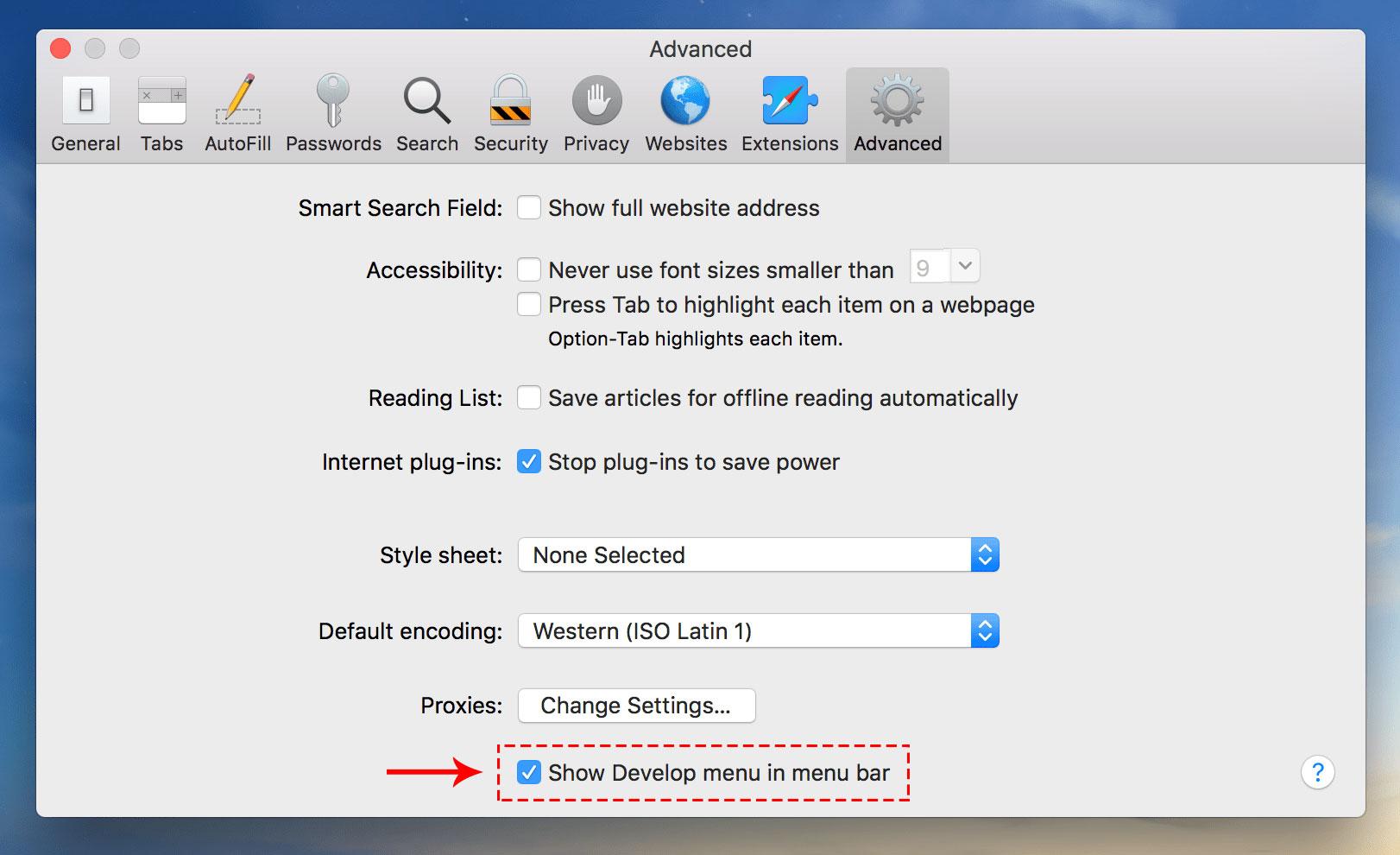 Advanced panel in Safari Preferences window