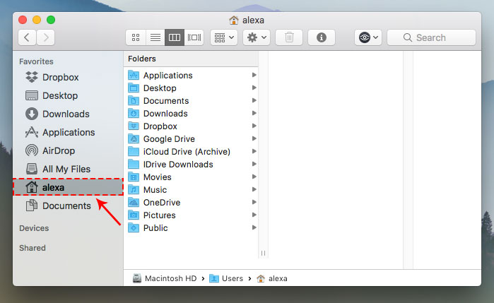 change home folder mac