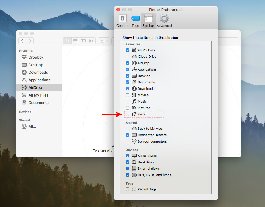 Enable showing Home folder in Finder Preferences window