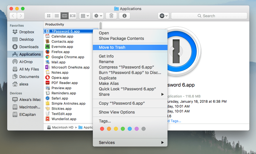delete 1password from mac