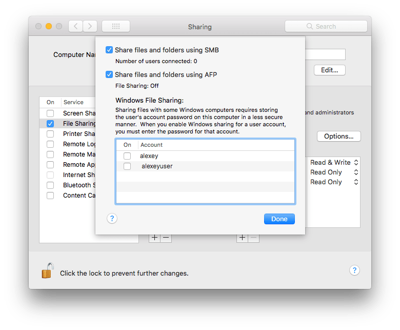 File sharing settings