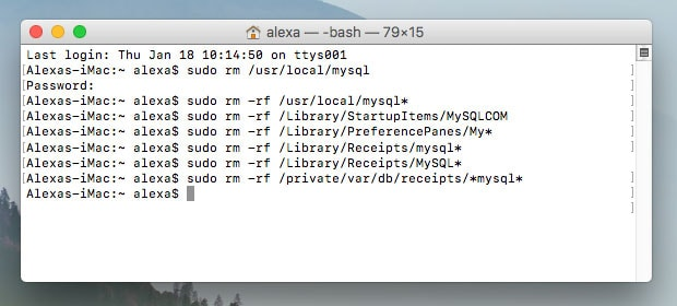 how to uninstall mysql in mac