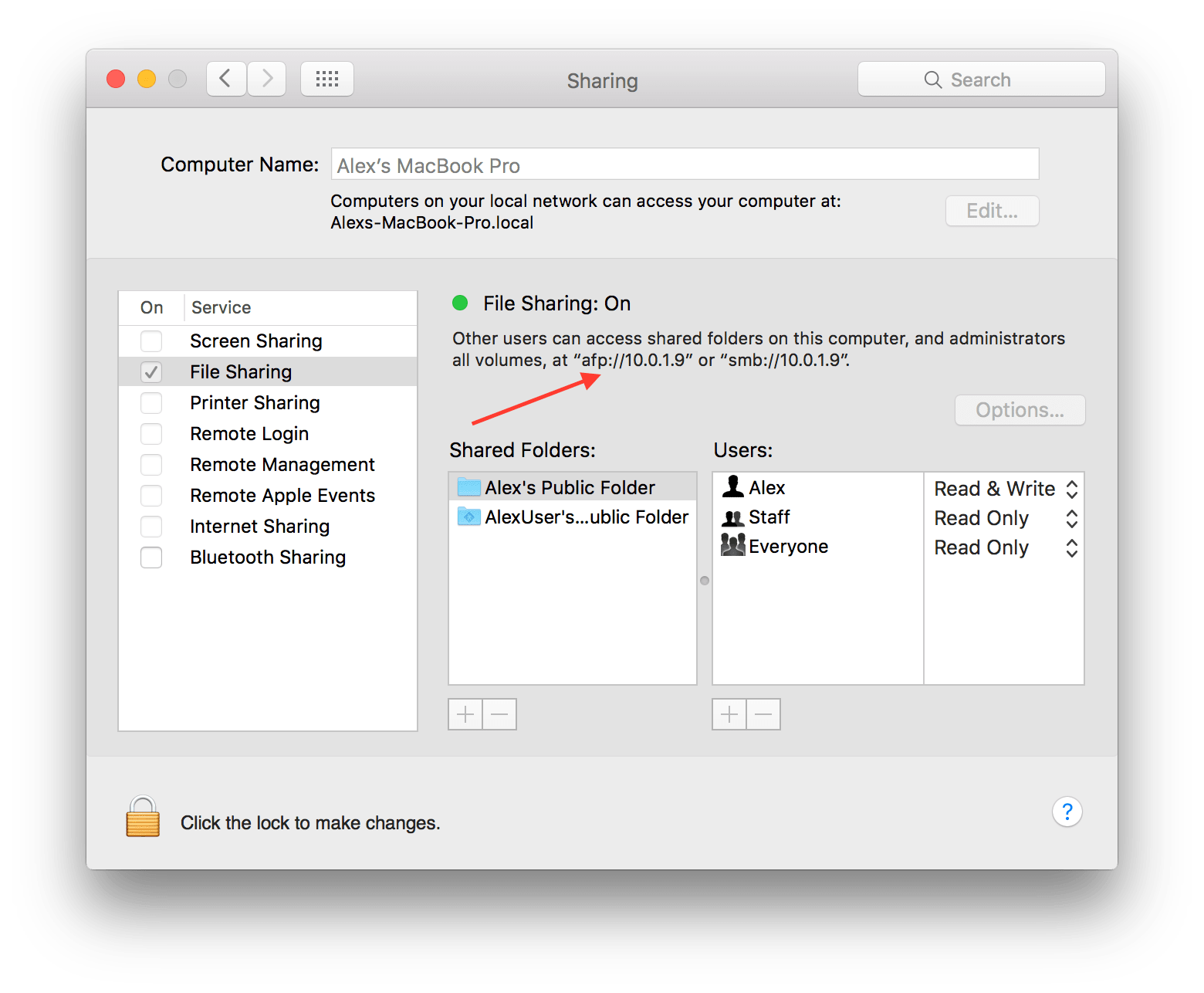 File Sharing option highlighted in Sharing Preferences