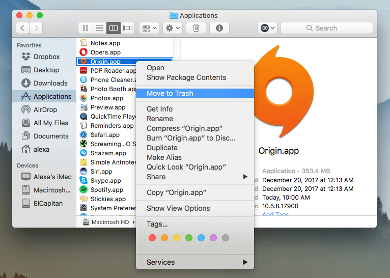 find origin in the applications folder and move it to trash