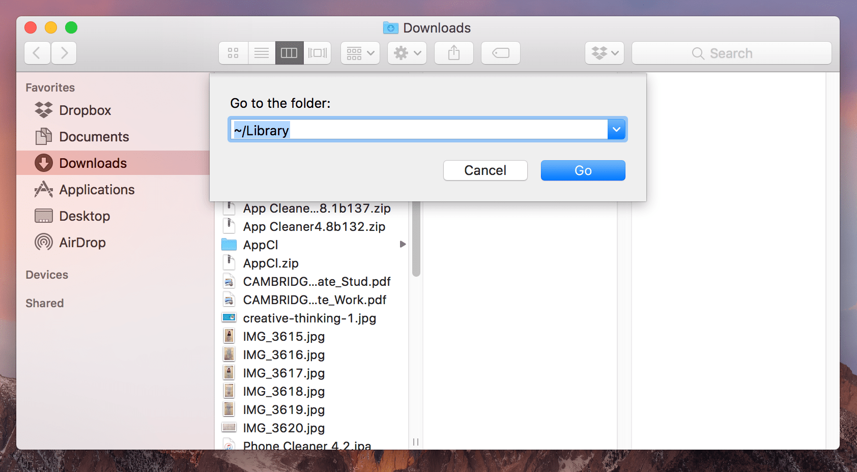 finder window with fo go Library folder search field