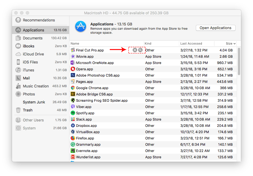 large applications list in manage storage window