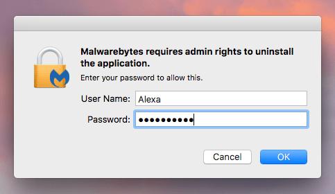 Entry password window to remove program