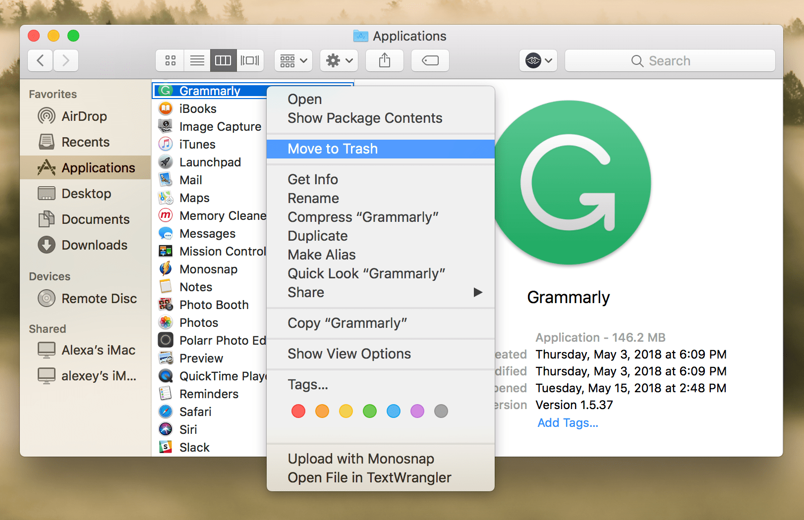 Finder window - removing Grammarly to Trash