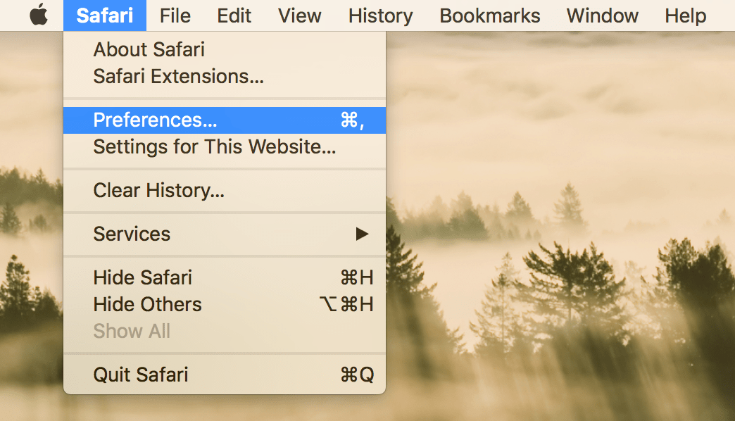 Choosing Safari Preferences in menu bar
