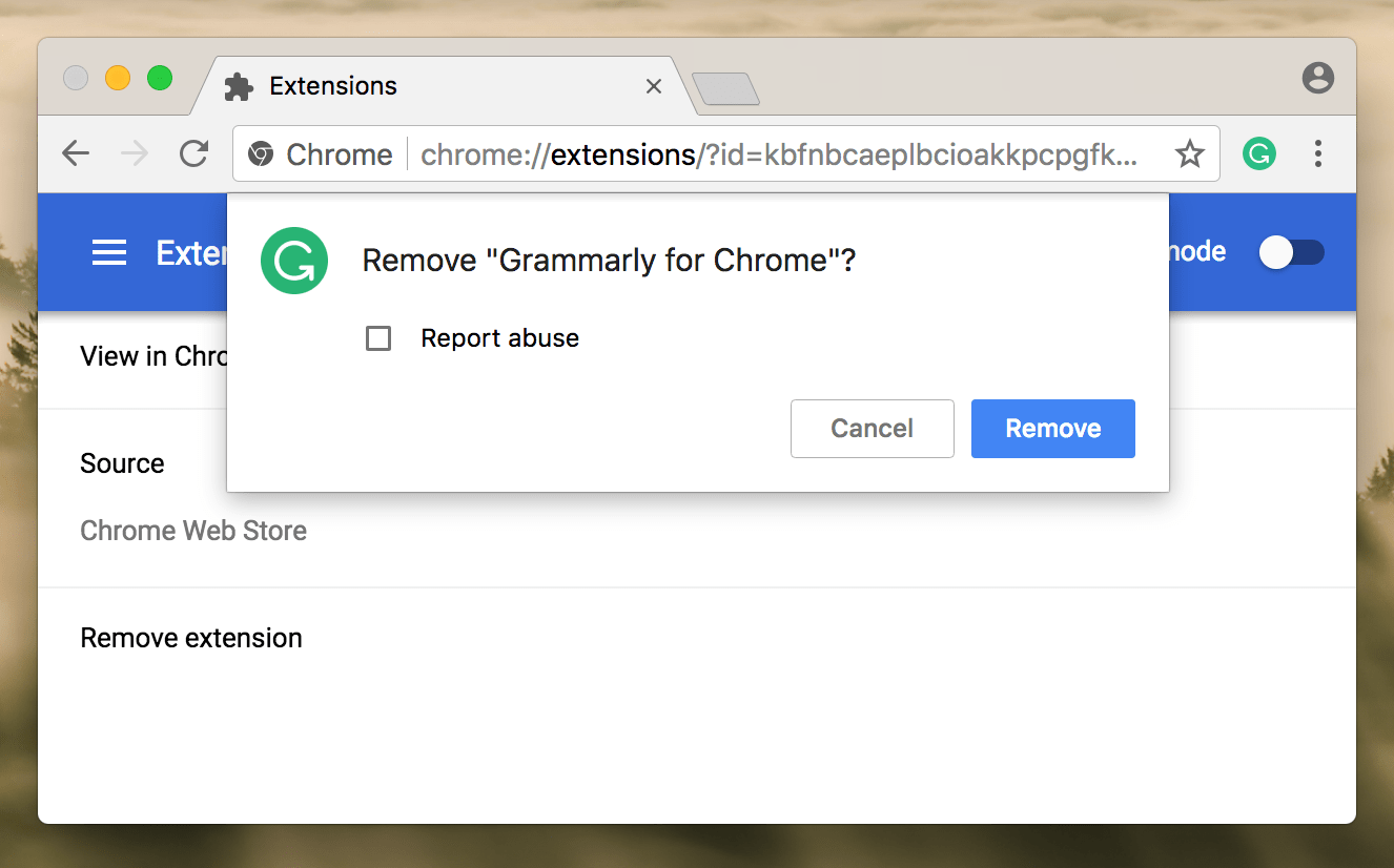 Removal confirmation window of Grammarly for Chrome extension
