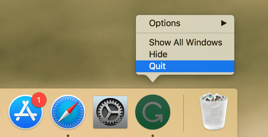 Choosing Quit Grammarly command in Dock