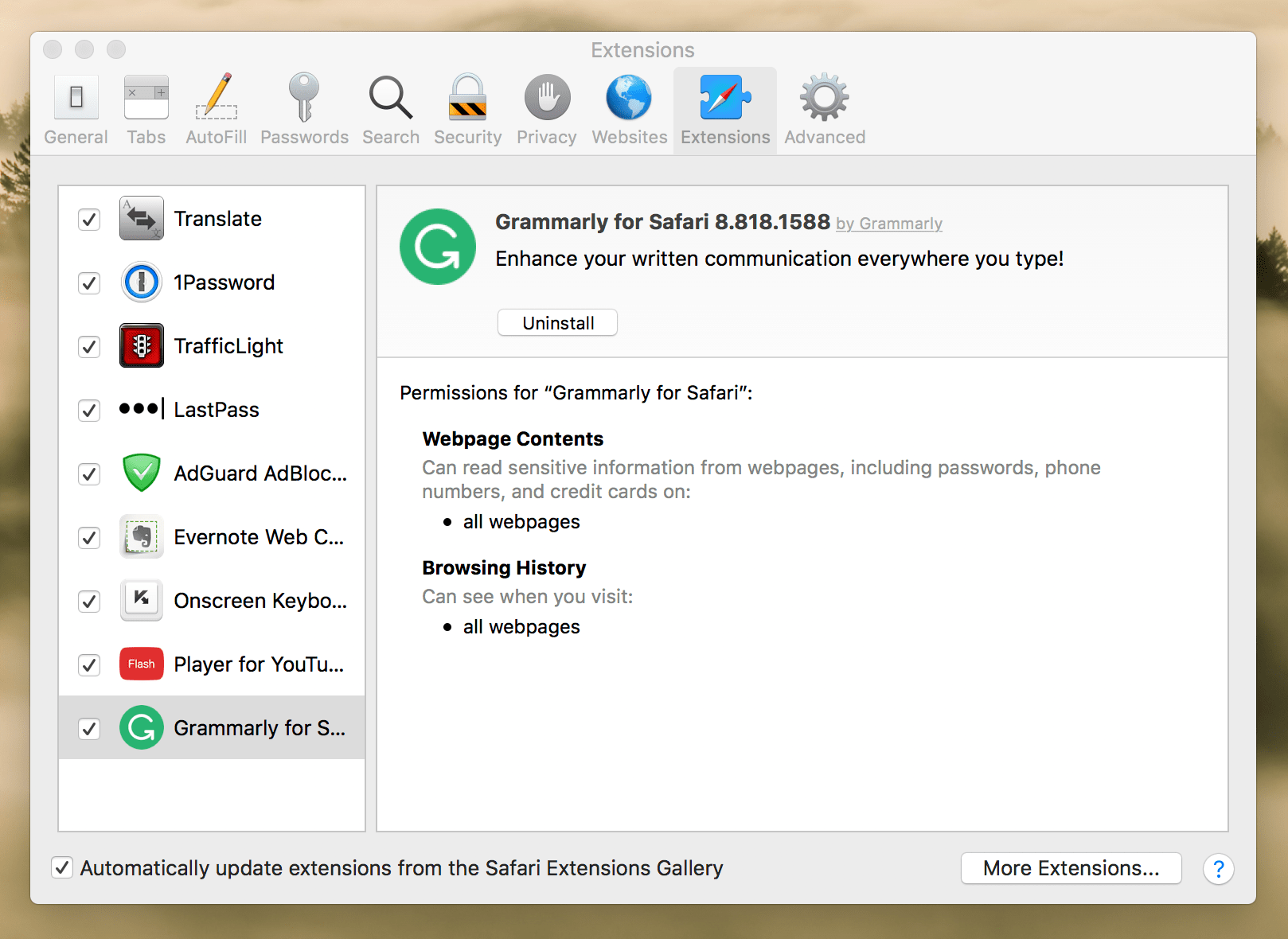 Grammarly Extension is selected in  Safari preferences