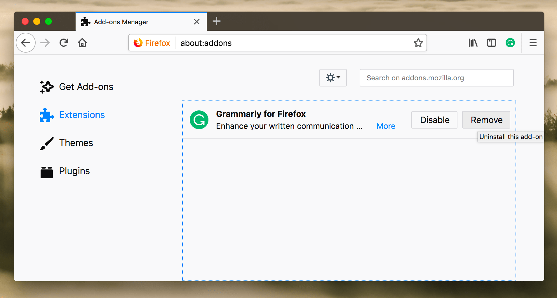 Grammarly for Firefox item in Firefox browser