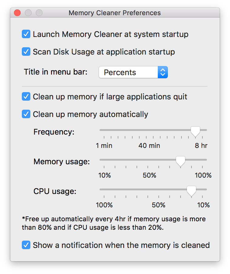 memory-clenaer - preferences window