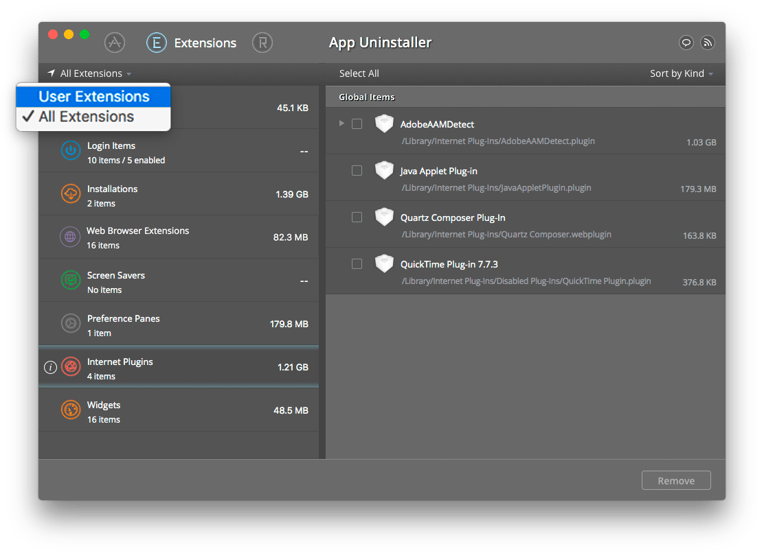 switch to user apps extensions