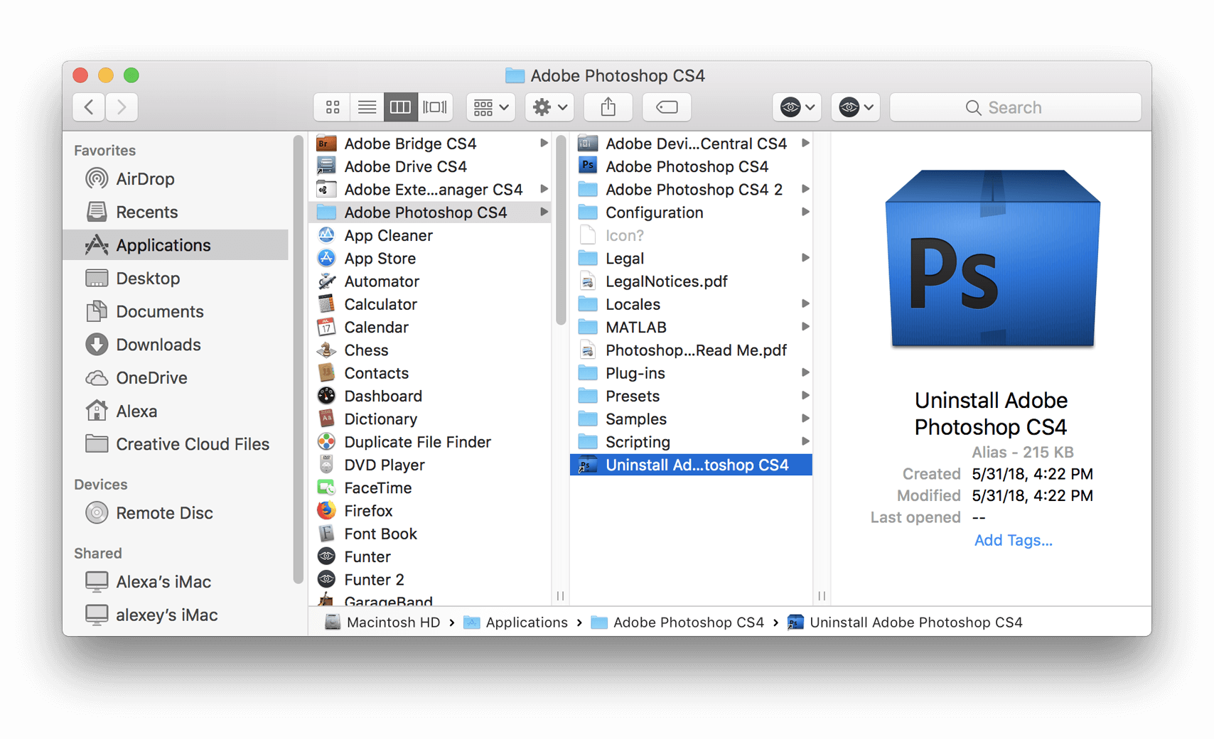 uninstall photoshop cs4 Mac 1