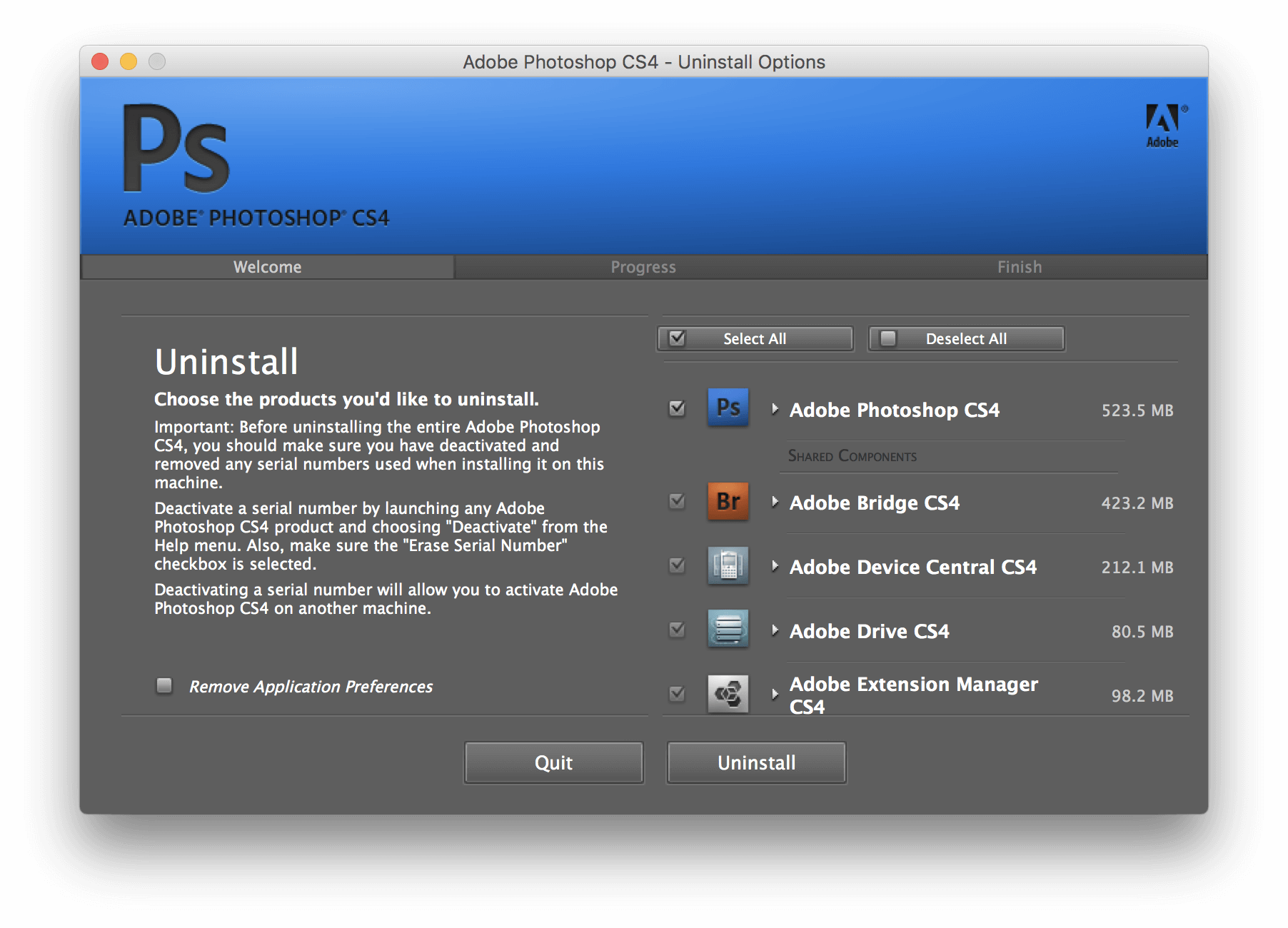uninstall photoshop cs4 Mac 3