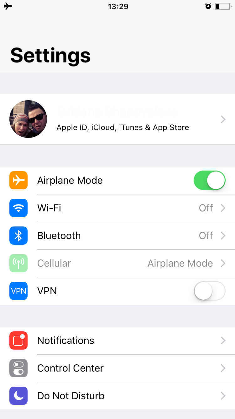 iphone screen-general settings