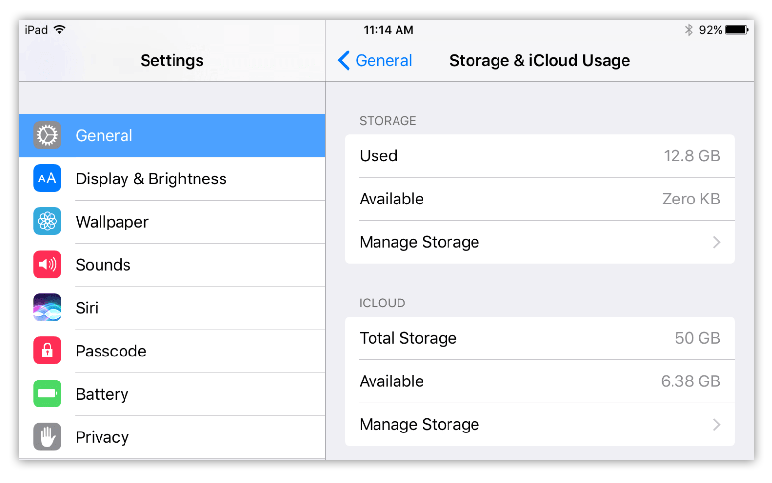 Storage and iCloud usage settings