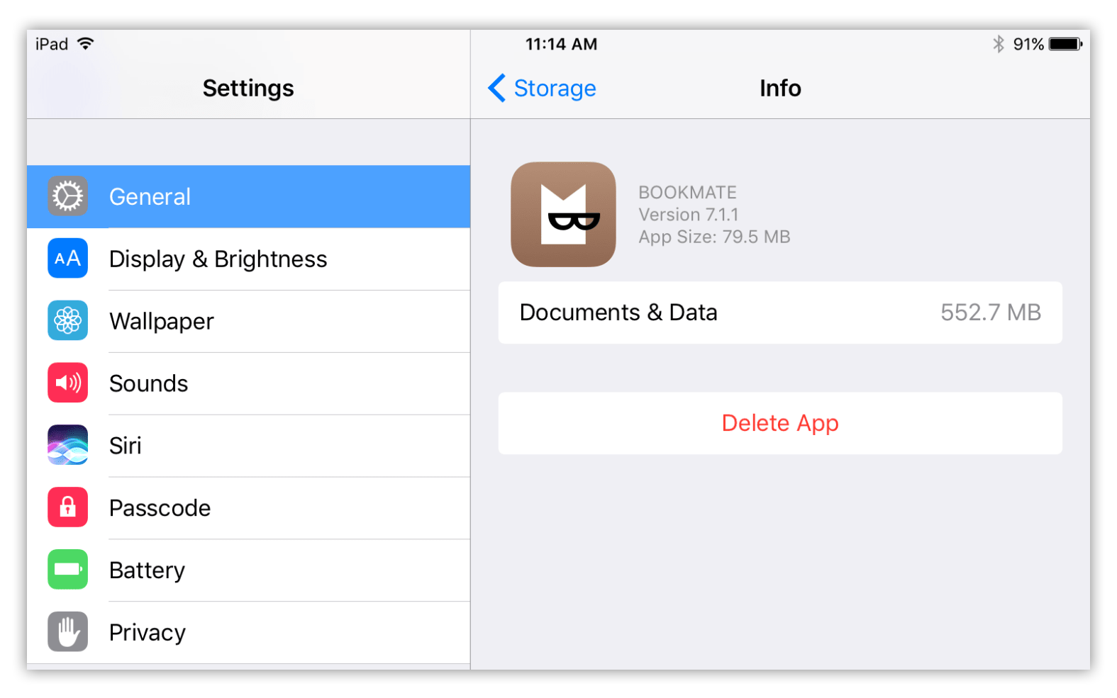 Documents and data info on iPad