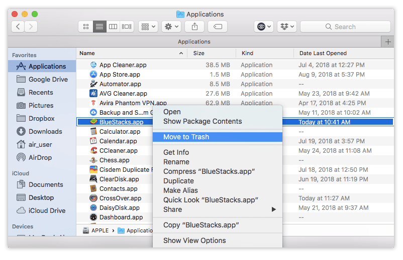 Choosing Move to Trash command for BlueStacks application in Finder window