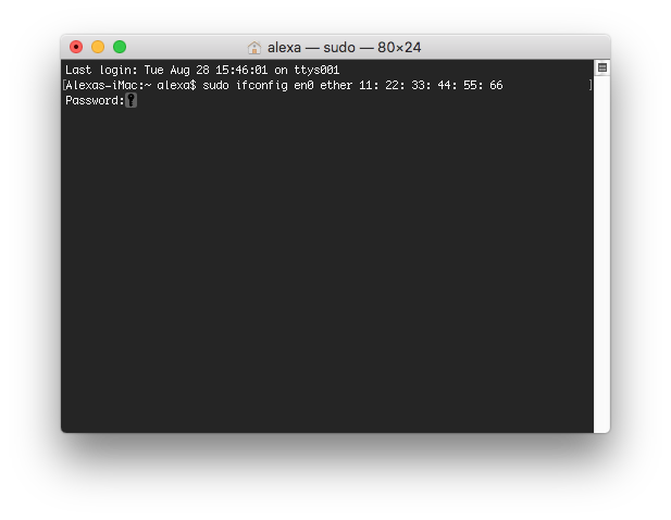 command to change Mac address in terminal