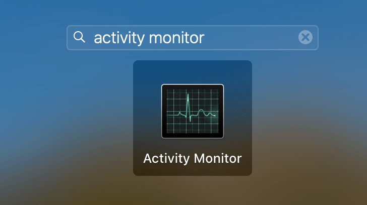 searching for activity monitor in launchpad
