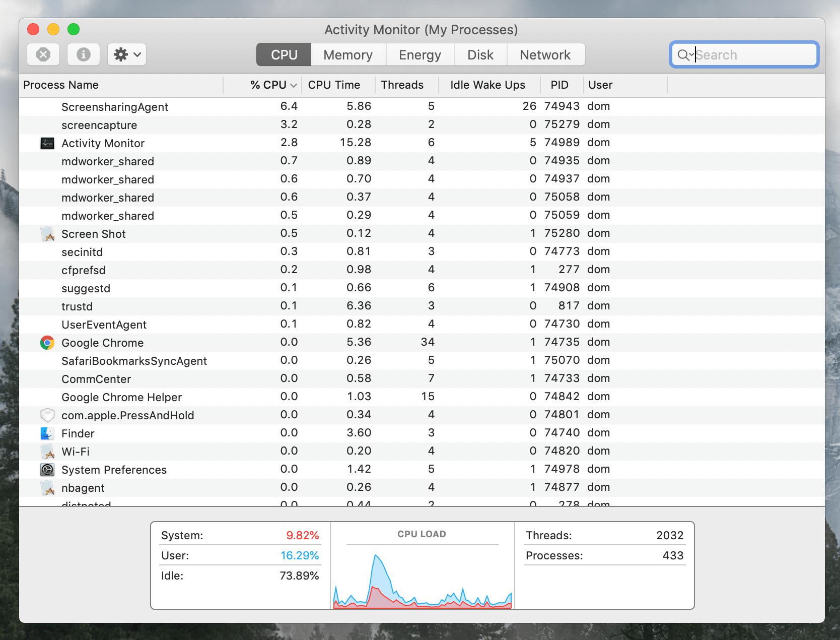 CPU tab in Activity Monitor window