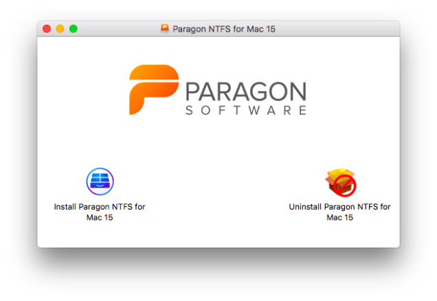 paragon ntfs installer window