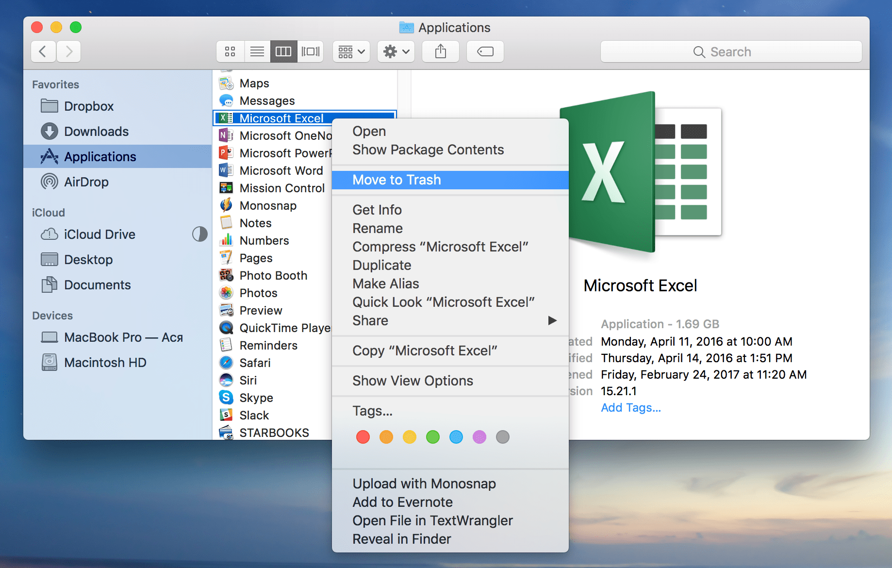 Remove Excel from Mac