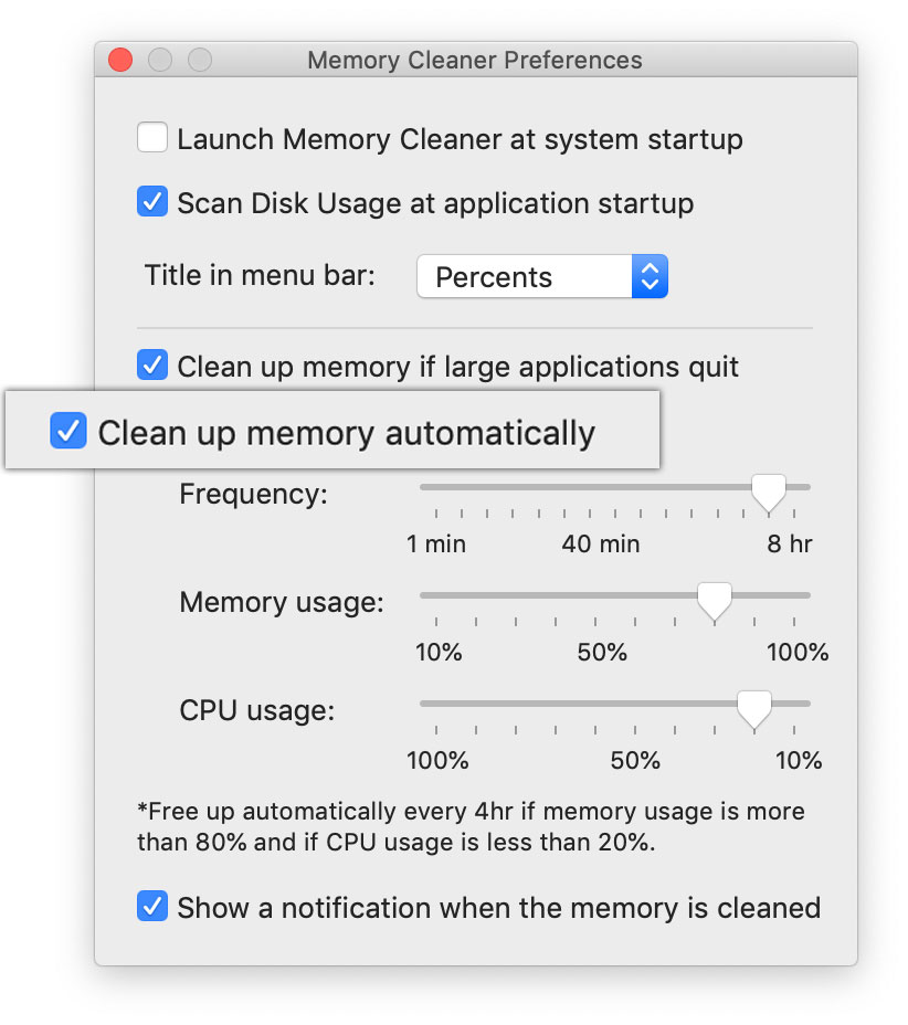 auto memory cleanup