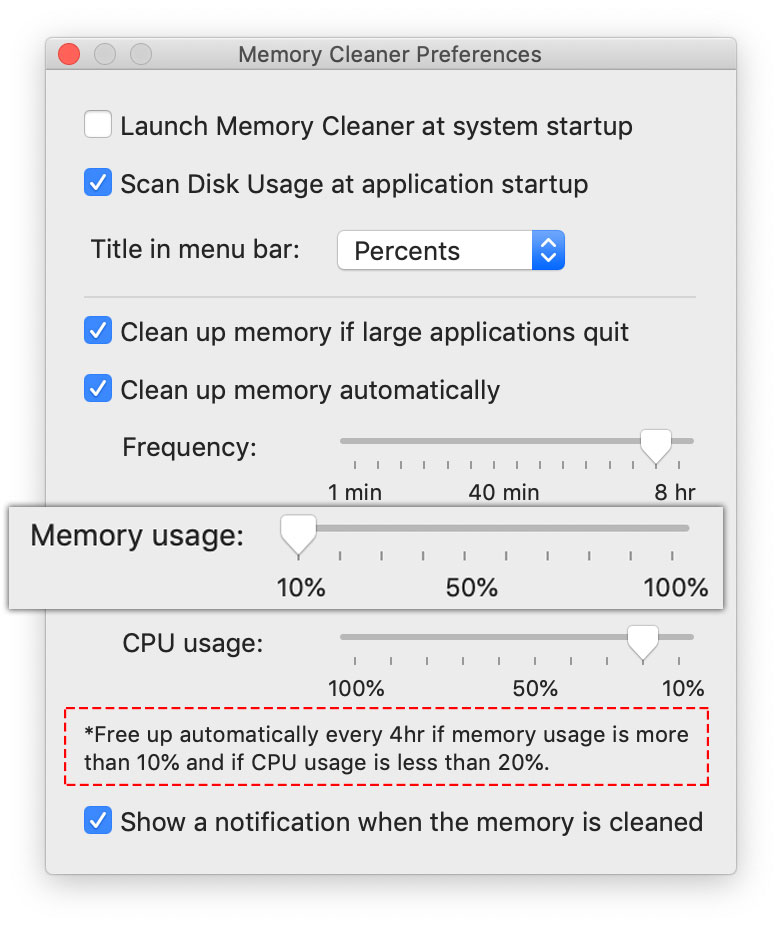 memory usage - set up