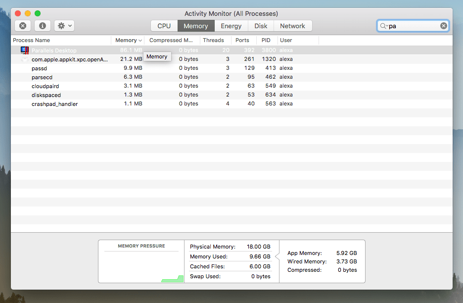 Activity Monitor showing Parallels Desktop in Memory section