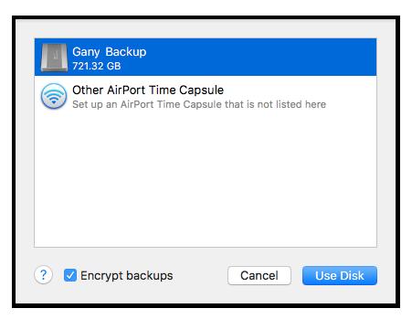 list of disks for backup
