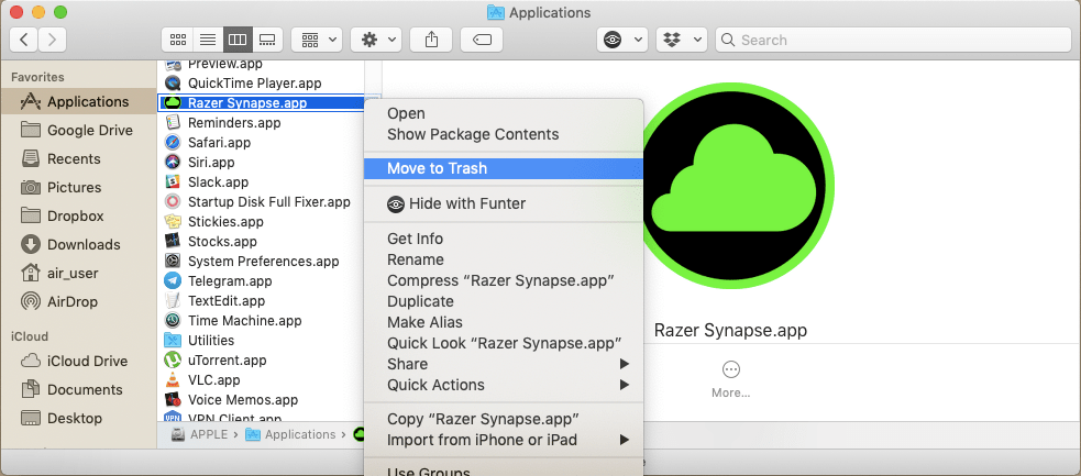 How to Delete Razer Synapse on a Mac