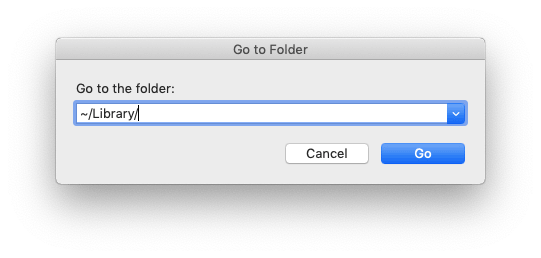 Go to Folder Finder window with user Library path entered
