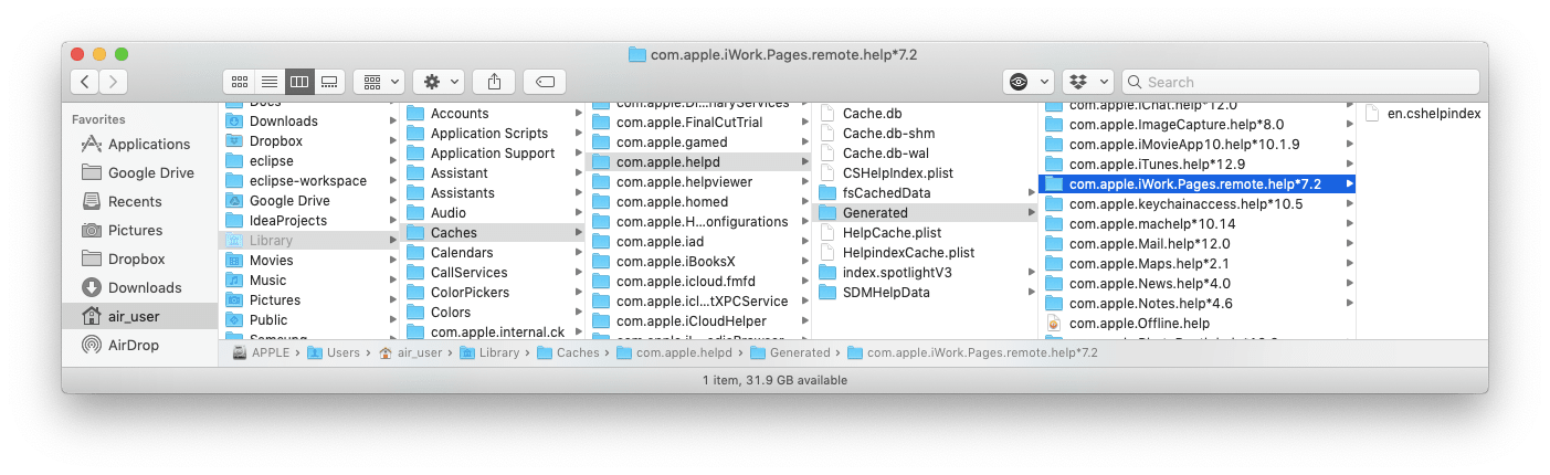 Pages cache folder selected in Finder