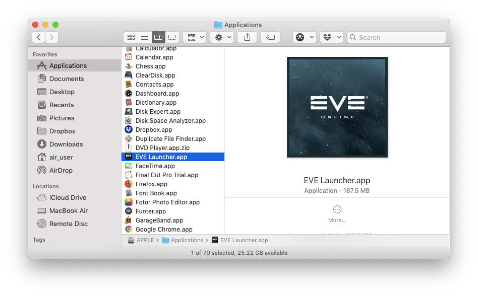Eve Launcher application