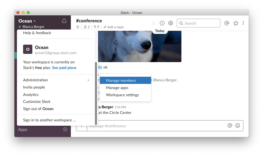 slack window-chat settings-delete account