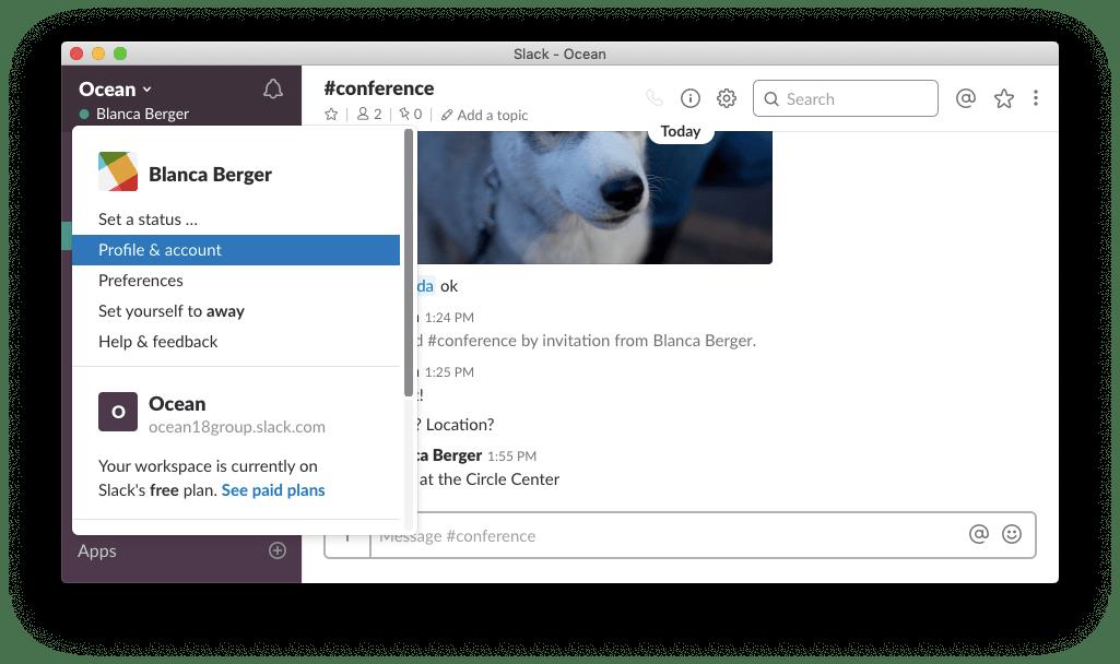 slack desktop-profile and account settings