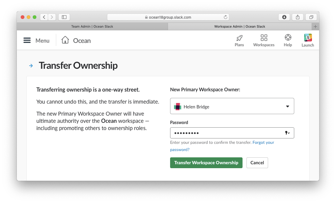 slack window showing transfer ownership section