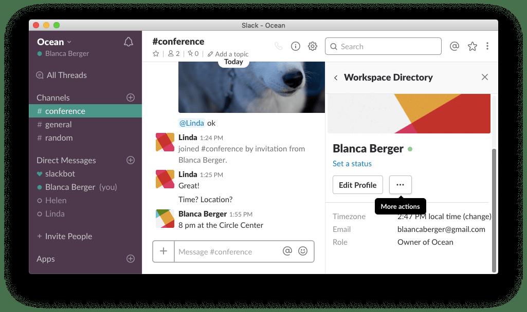 slack desktop-opening account settings