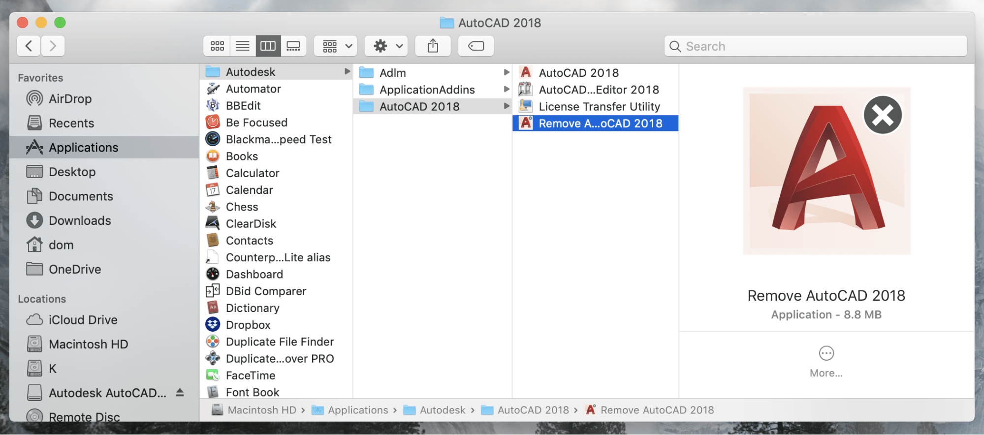 Remove AutoCAD file in Finder
