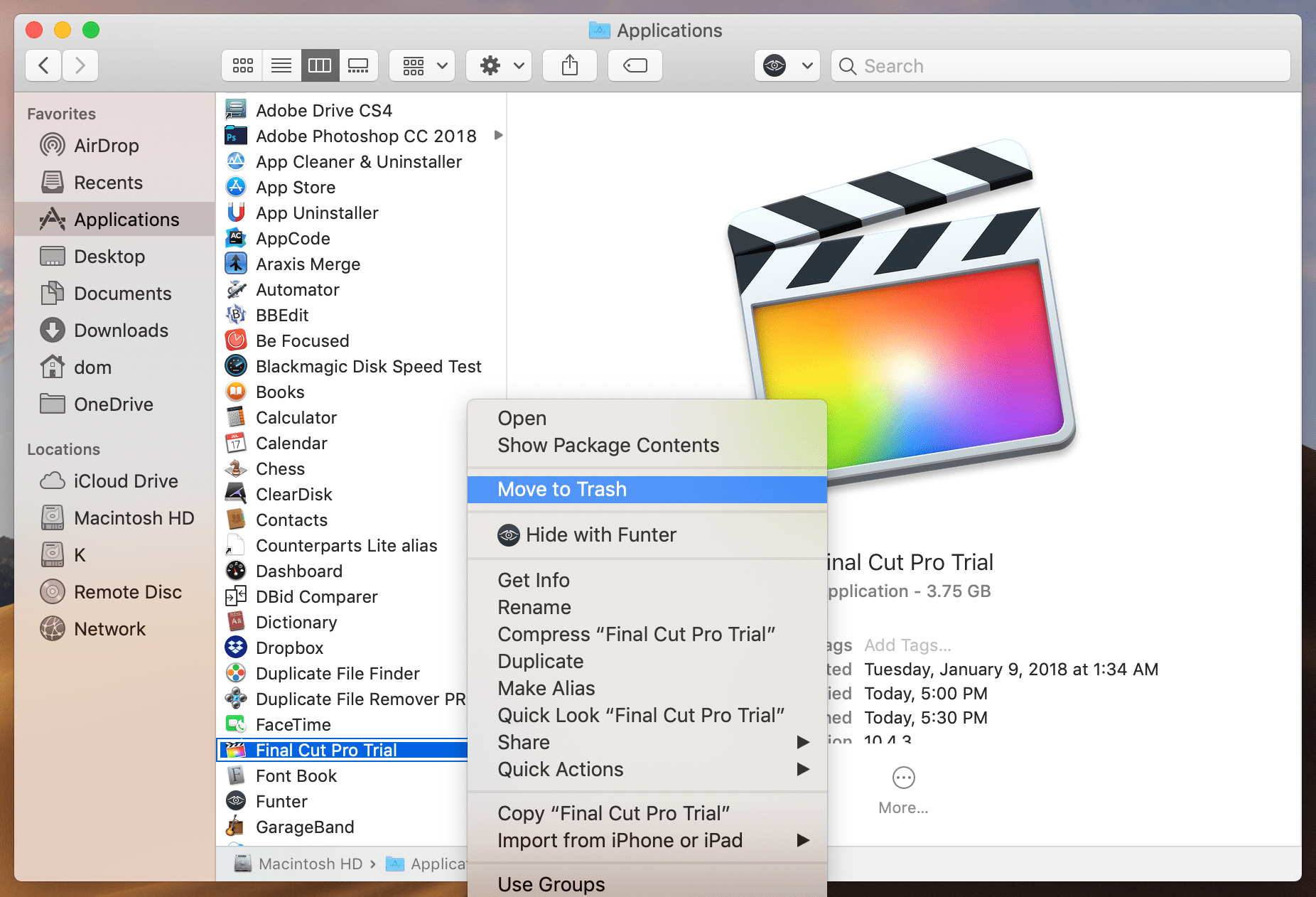 Move to Trash FinalCut Pro