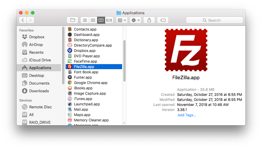 how to remove filezilla from mac