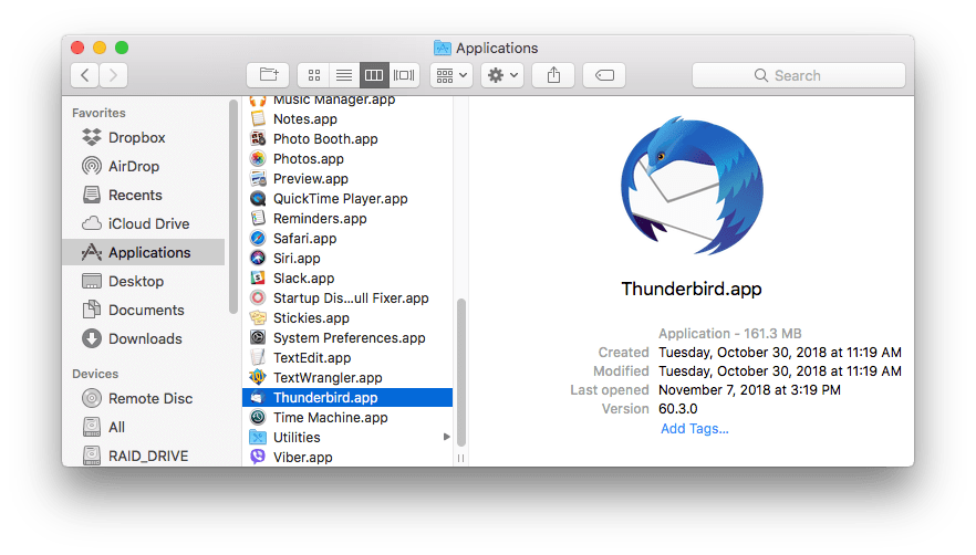 uninstall mozilla thunderbird