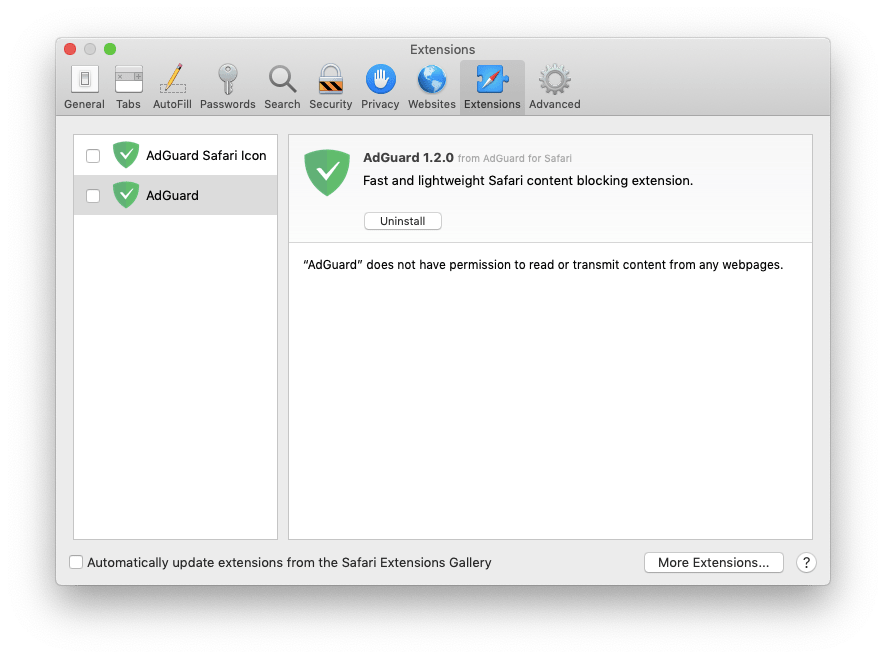 Uninstall AdGuard Extension for Safari