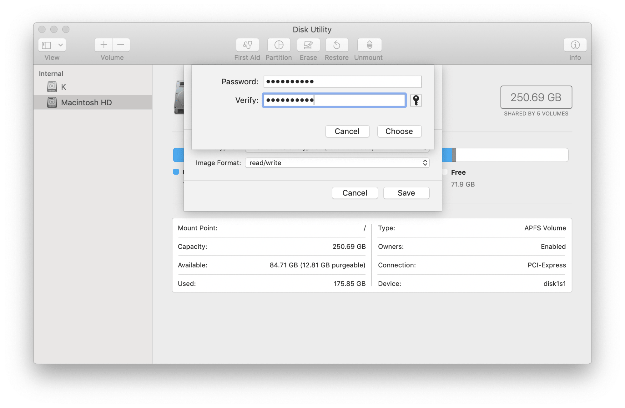 Password entry window of Disk Utility
